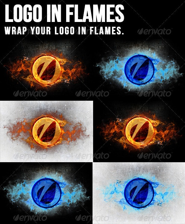 Logo In Flames - Logo Product Mock-Ups