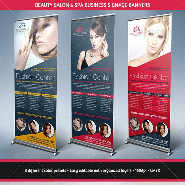 Beauty Center & Spa Business Roll Up Banners