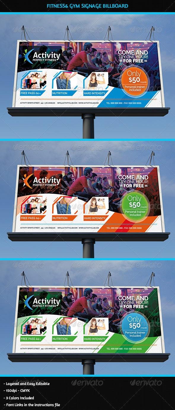 Fitness & Gym Business Signage Billboard - Signage Print Templates