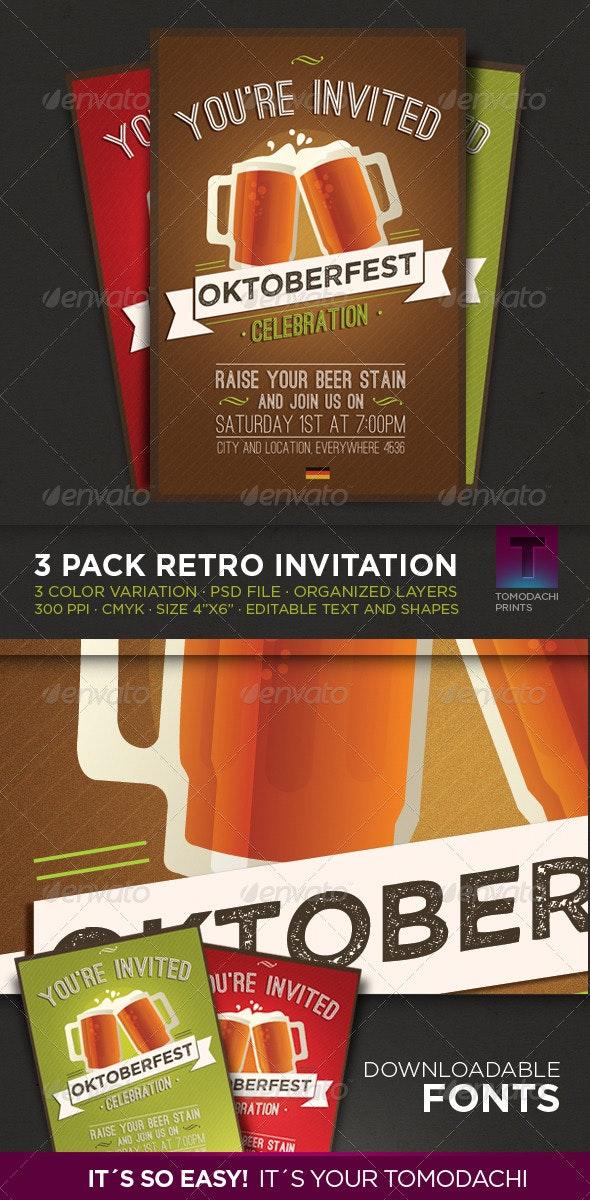 Oktoberfest · 3 Pack Invitation - Invitations Cards & Invites