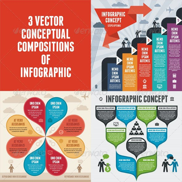 Infographic Concept - 3 Vector Schemes