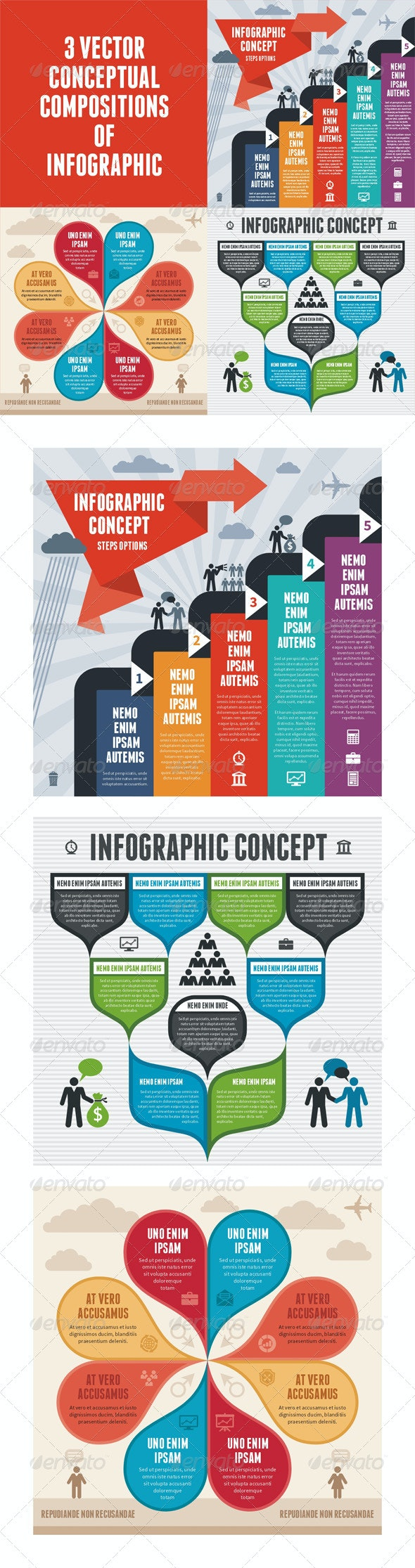 Infographic Concept - 3 Vector Schemes - Infographics