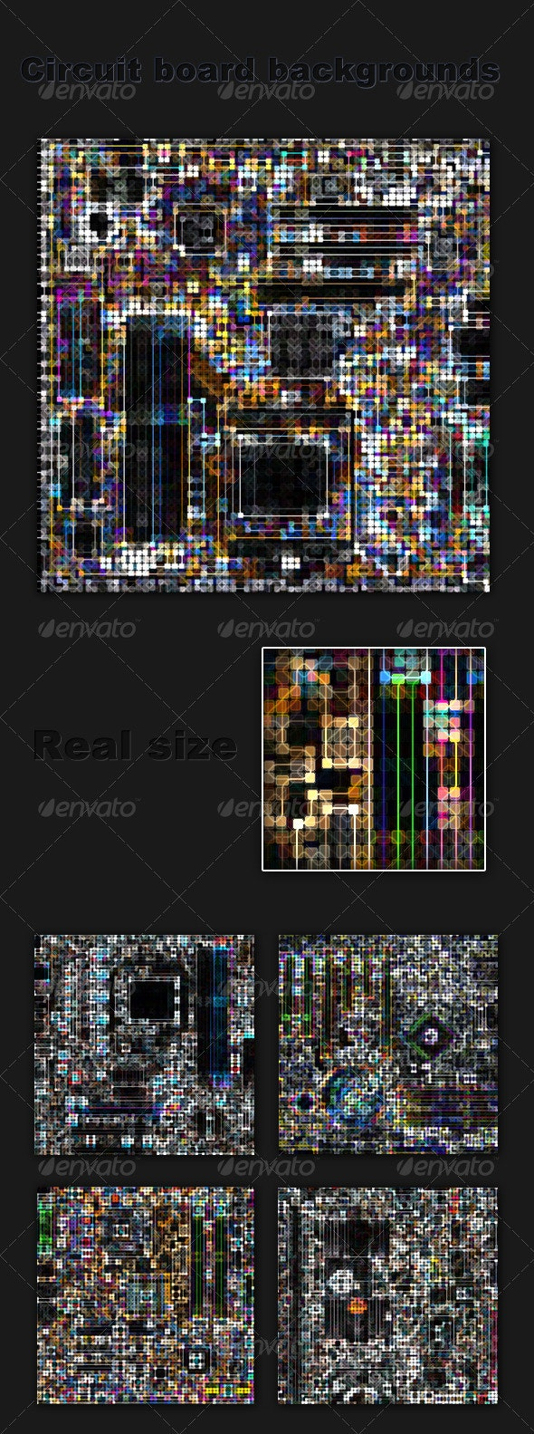 5 Artistic Circuit Board Textures Collection - Patterns Backgrounds