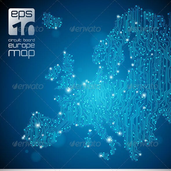 Europe Map - Circuit Board Abstract Background
