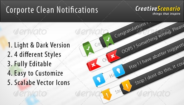 Corporate Clean Notifications For Your Web Site  - Miscellaneous Web Elements