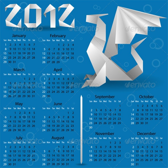 Calendar for 2012 with Origami Dragon - New Year Seasons/Holidays