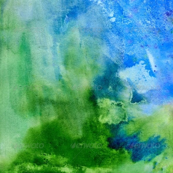 Grass and Sky. Abstract Watercolor Background