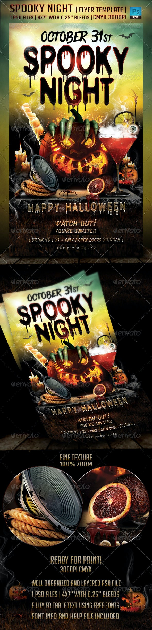 Spooky Night Flyer Template - Holidays Events
