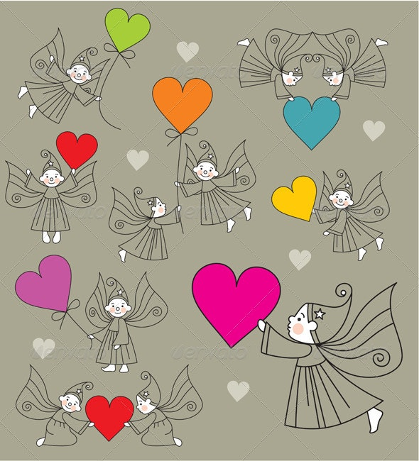 Set vector elves with hearts - Miscellaneous Characters