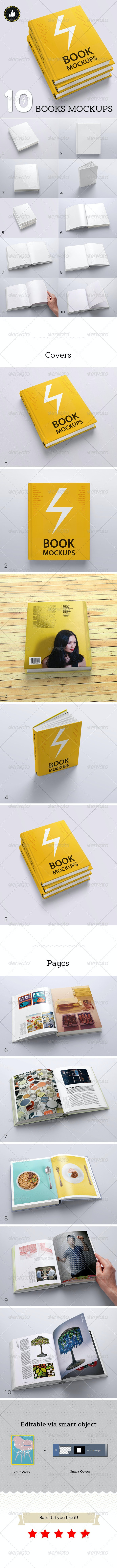 Book Mockups / 10 Different Images - Books Print