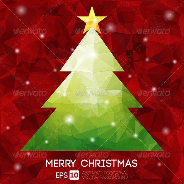 Christmas Tree Greeting Card - Abstract Conceptual