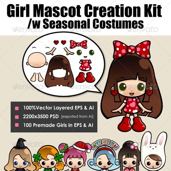 Girl Mascot Kit with Seasonal Costume