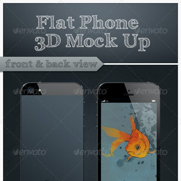 Flat Phone 3D Mock Up