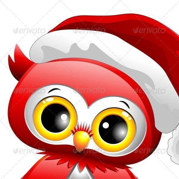 Baby Owl Christmas Santa