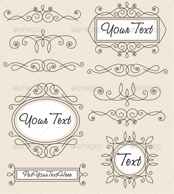 Set vector vintage ornament - Decorative Symbols Decorative