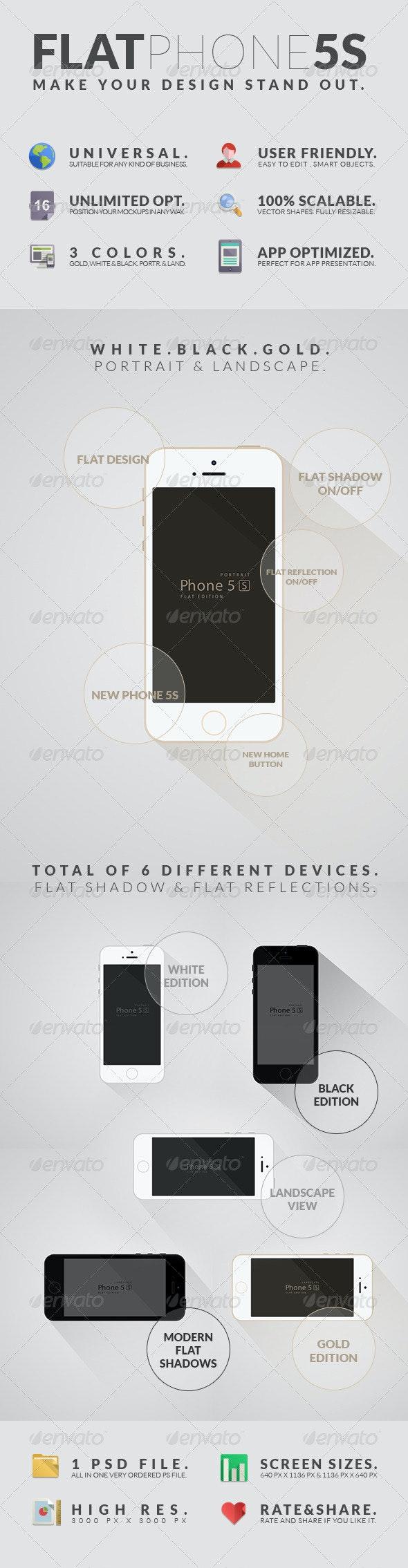 Flat Phone 5S Mockups - Mobile Displays