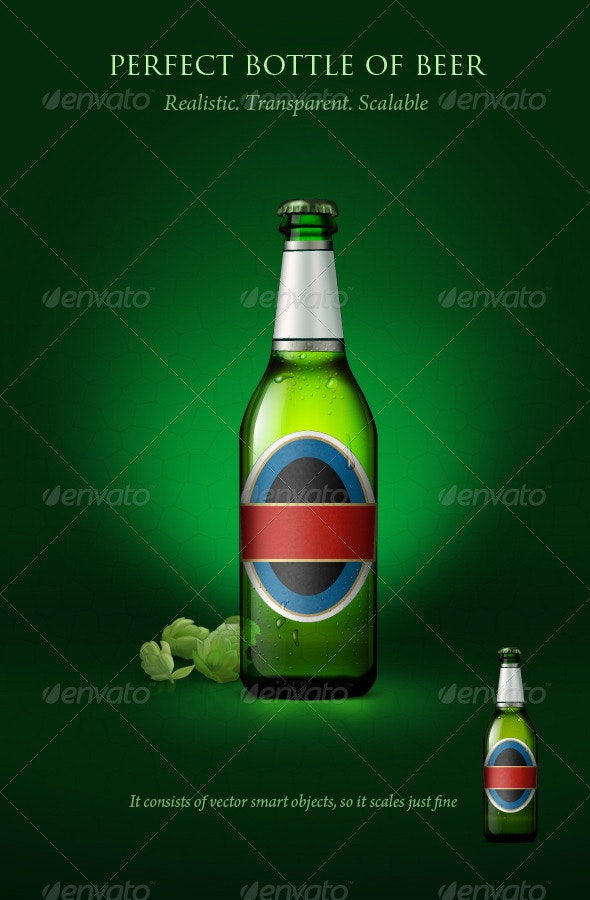 Transparent beer bottle with blanc labels - Food and Drink Packaging