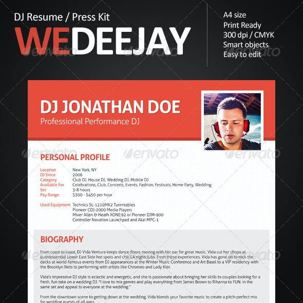 WeDeeJay DJ Resume / Press Kit