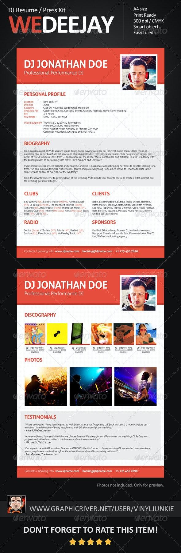 WeDeeJay DJ Resume / Press Kit - Resumes Stationery