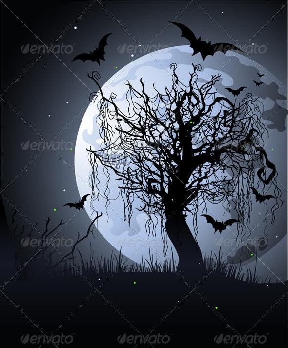 Creepy tree at night - Halloween Seasons/Holidays