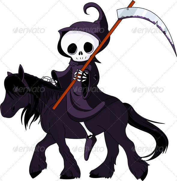 Cartoon grim reaper riding horse - Halloween Seasons/Holidays