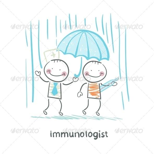Immunologist Umbrella Covers the Patient