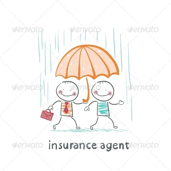 Insurance Agent Protects a Person from the Rain