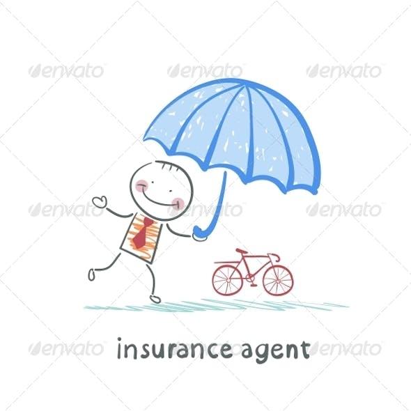Insurance Agent Protects Bike Umbrella