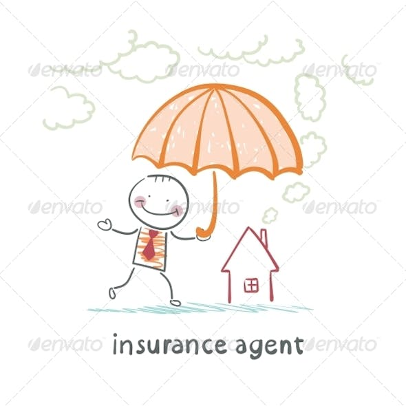 Insurance Agent is Holding an Umbrella