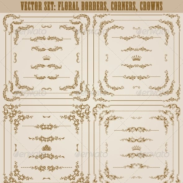 Vector Set of Gold Decorative Borders