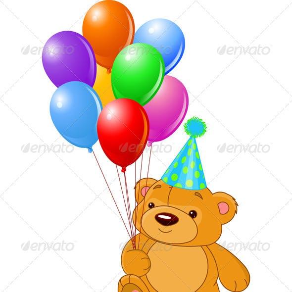 Teddy Bear Holding Balloons