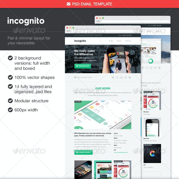 Incognito PSD Email Template
