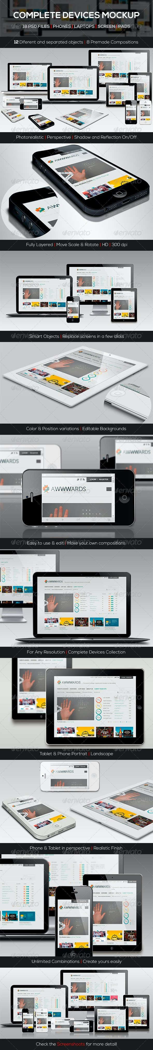 Responsive Screen Devices Mock-up Pack - Product Mock-Ups Graphics