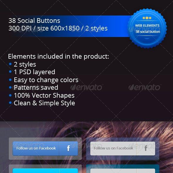 38 Convex Social Buttons