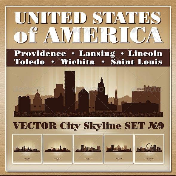 Vector City Skyline USA Set Number 9