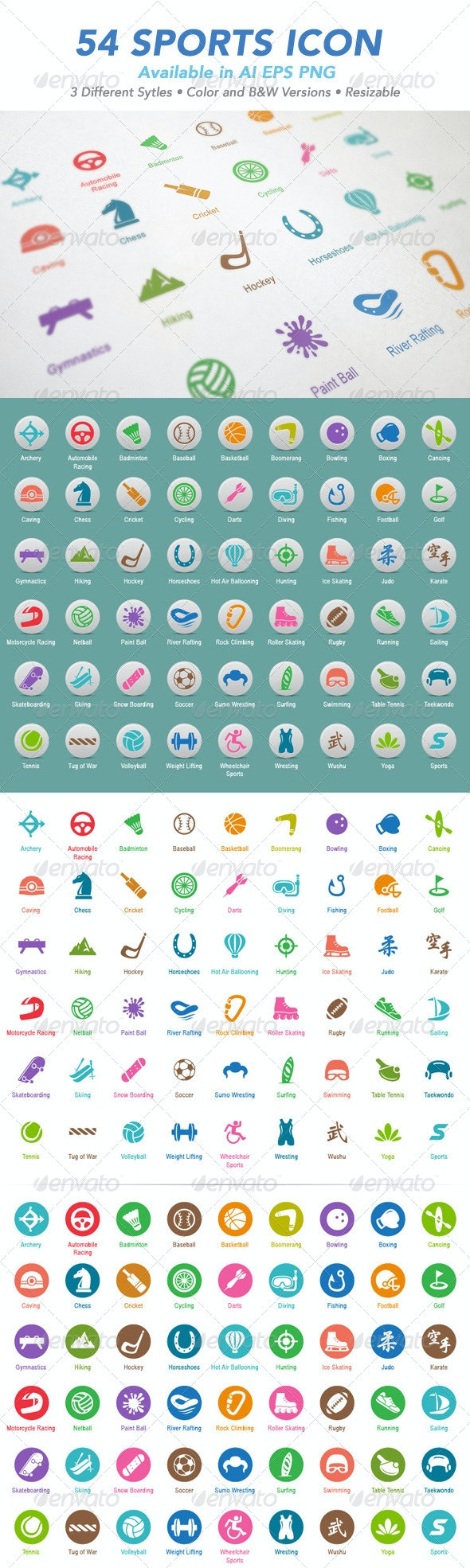 54 Sports Icon Set - Web Icons