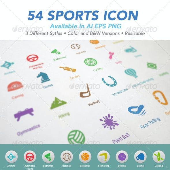 54 Sports Icon Set