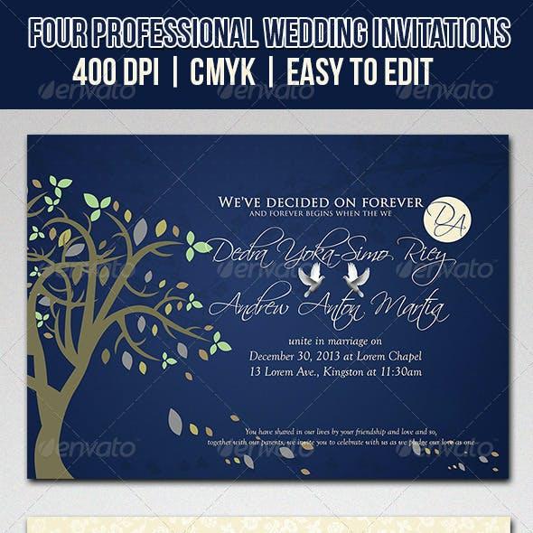 Love Blues Wedding Invitations