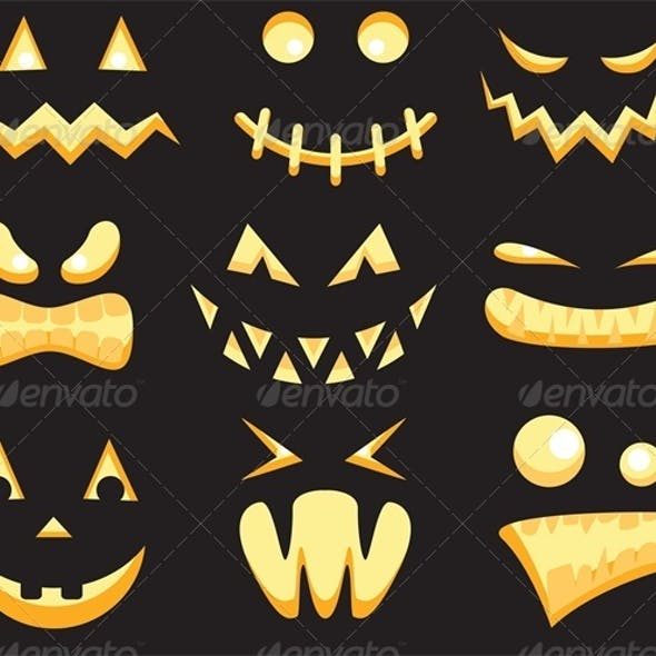 Halloween Scary Monster Faces in the Dark