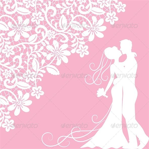 Wedding Card with Newlyweds and Lace