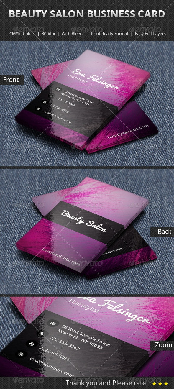 Beauty Salon Business Card - Industry Specific Business Cards