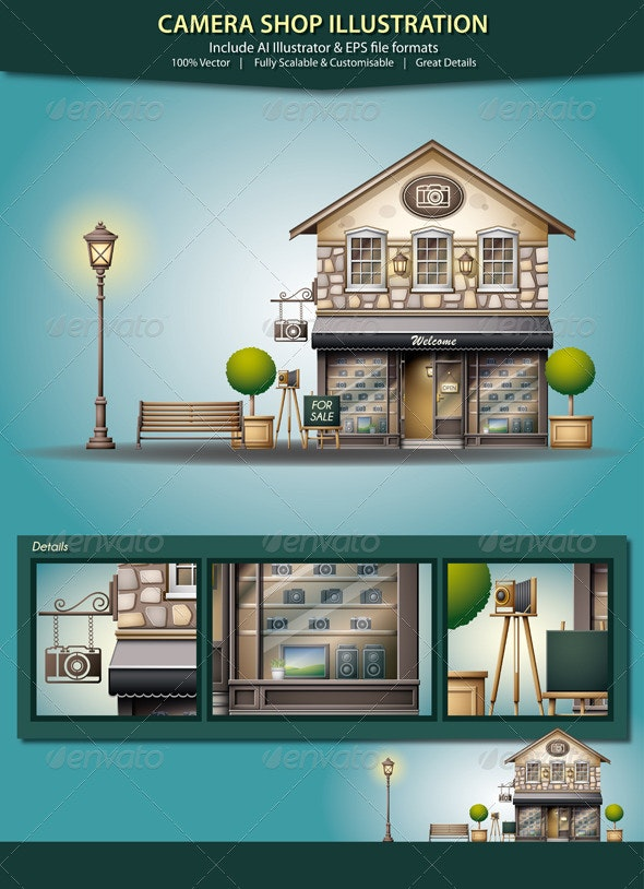 Camera Shop Illustration - Buildings Objects