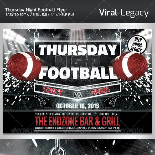 Thursday Night Football Promo Flyer