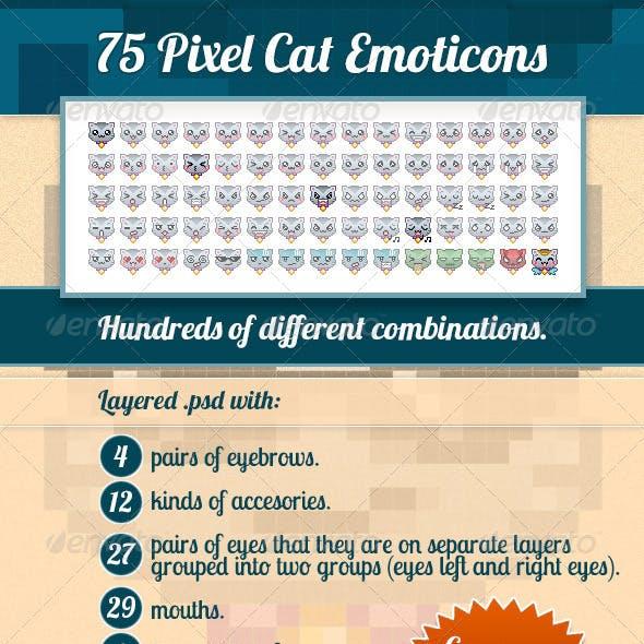 75 Pixel Cat Emoticons