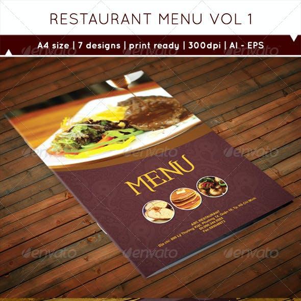 Restaurant Menu A4 Vol1
