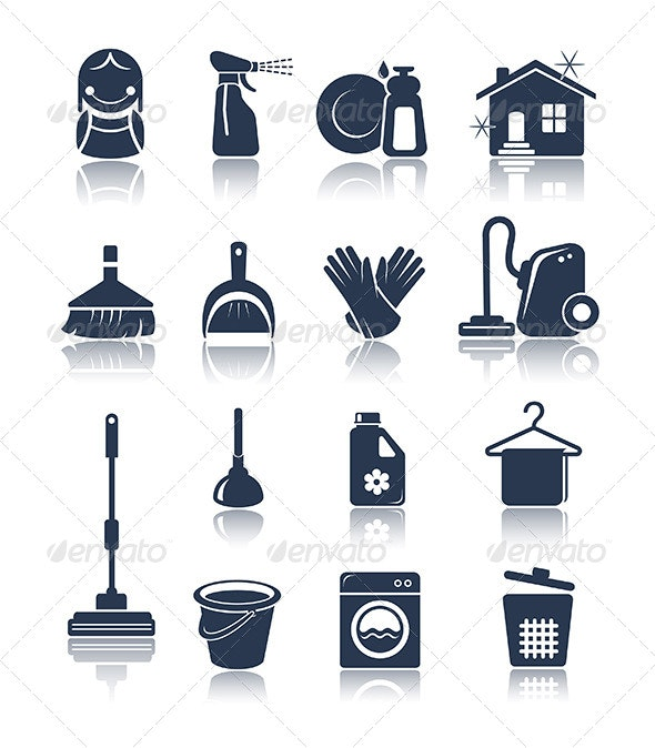 Cleaning blue icons - Objects Icons