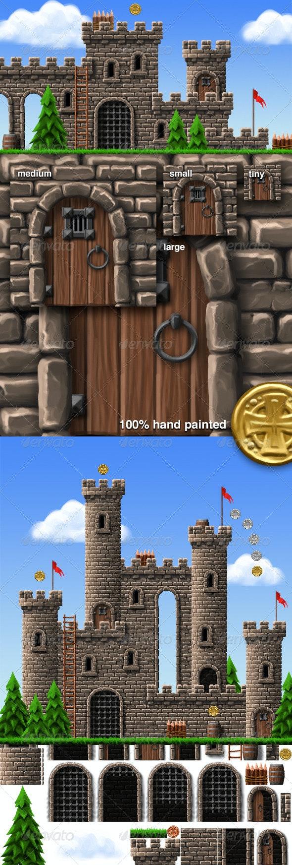 Castle Platform Game Tiles & Sprites - Tilesets Game Assets