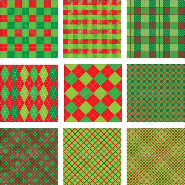 Set of Christmas and New Year Seamless Plaid