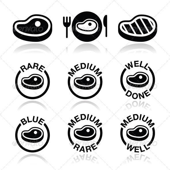 Steak Icon Set - Food Objects