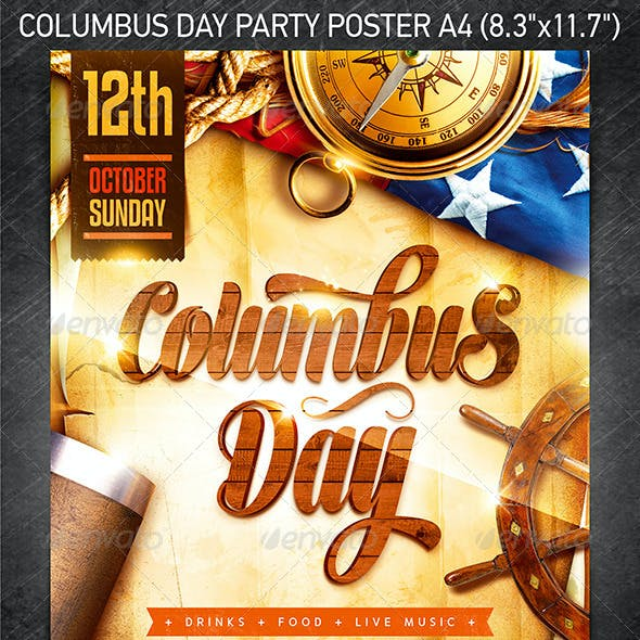Columbus Day Party Poster